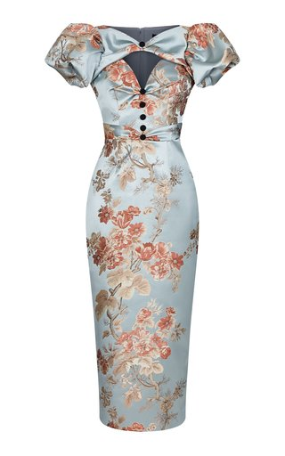 Puff-Sleeve Floral Jacquard Draped Midi Dress