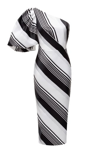 One-Shoulder Striped Jacquard Midi Dress With Voluminous Sleeve