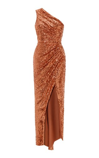 Asymmetric Draped Sequined Maxi Dress