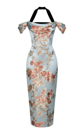 Floral Jacquard And Silk Velvet Draped Midi Dress