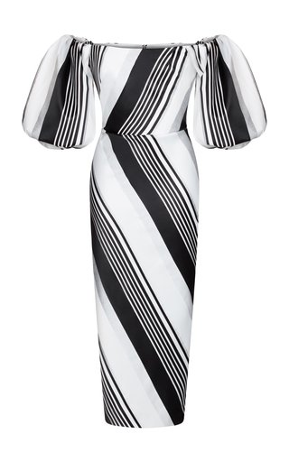 Striped Jacquard Corset Midi Dress With Voluminous Sleeves