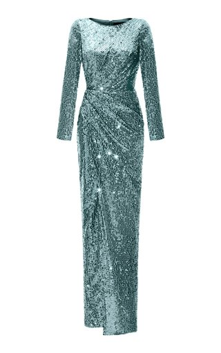 Draped Sequined Maxi Dress