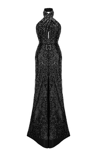 Draped Sequined Halter-Neck Maxi Dress