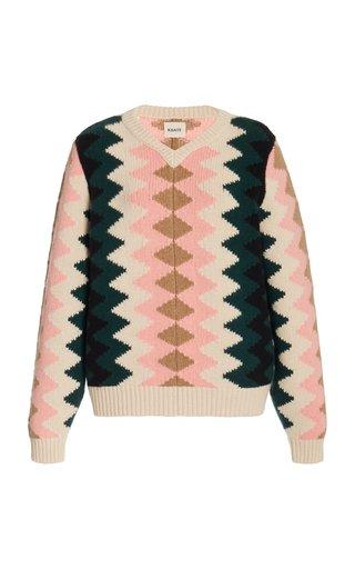 Nessa Chevron Cashmere Sweater