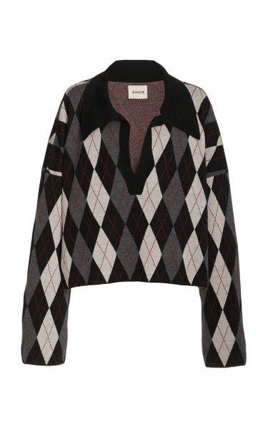 Noelle Argyle Wool Sweater