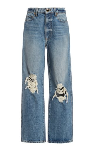 Abigail Distressed Straight-Leg Cropped Jeans