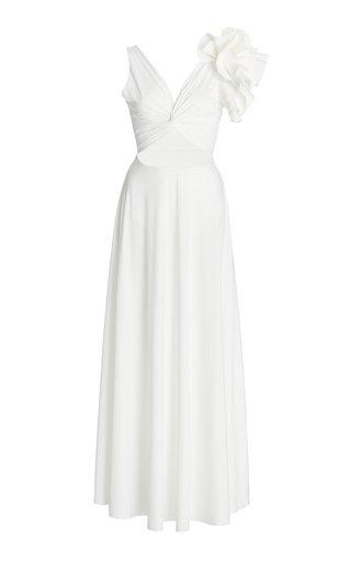 Blanca Reversible Ruffled Cutout Maxi Dress