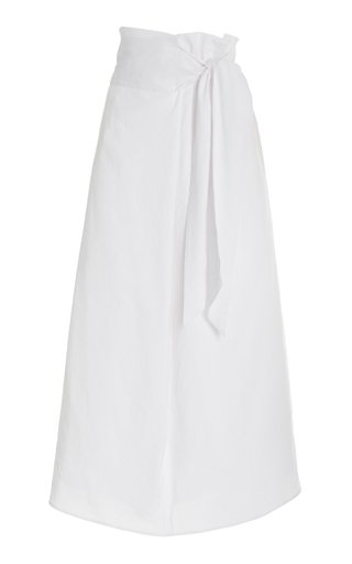 Tie-Front Linen-Blend Maxi Skirt