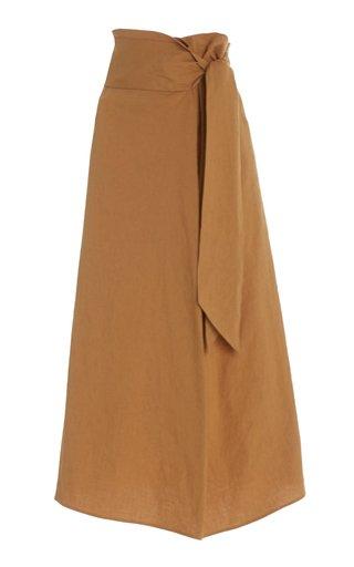 Tie Front Linen-Blend Skirt