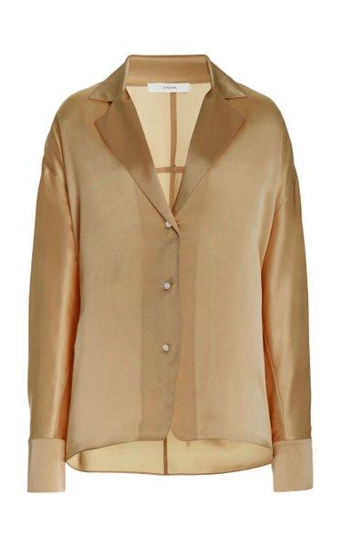 Tie-Back Silk Pajama Blouse