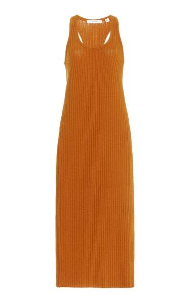 Ribbed Cotton-Blend Midi Dress