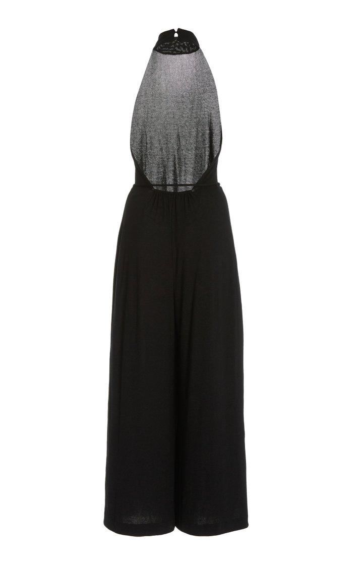 Open Back Cotton-Blend Jumpsuit