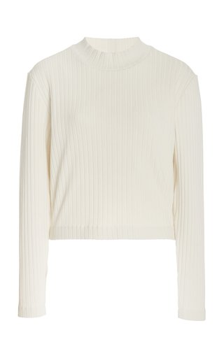 Ribbed Mock Neck Cotton-Blend Pullover