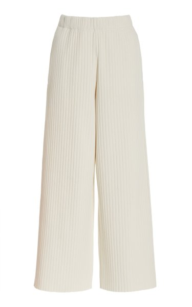 Ribbed Cotton-Blend Cropped Wide-Leg Pants