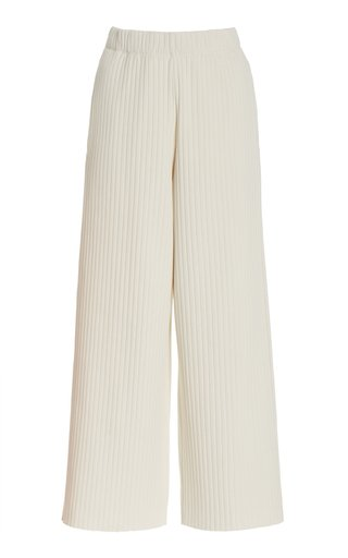 Ribbed Cropped Cotton-Blend Pants