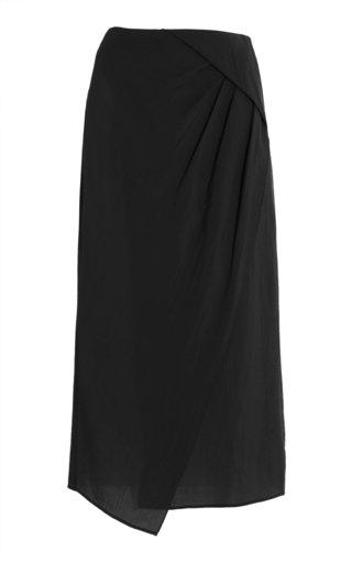 Draped Jersey Midi Skirt
