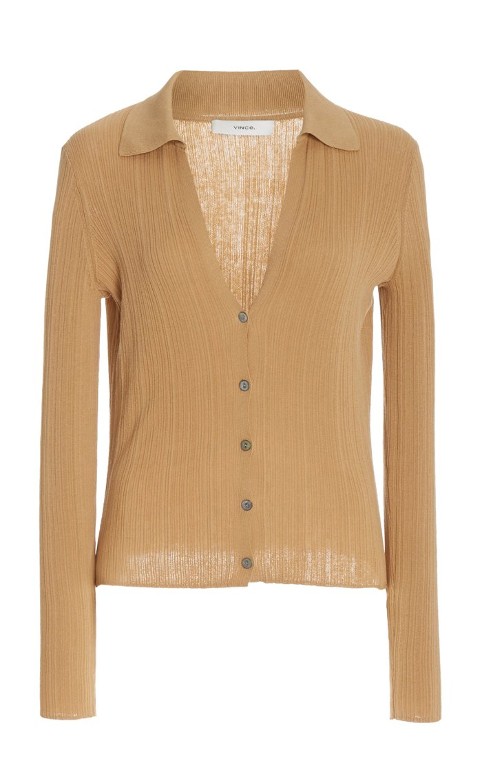 Ribbed Cotton Polo Cardigan