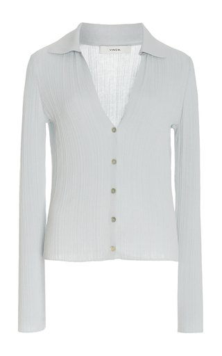 Ribbed Cotton Polo Cardigan