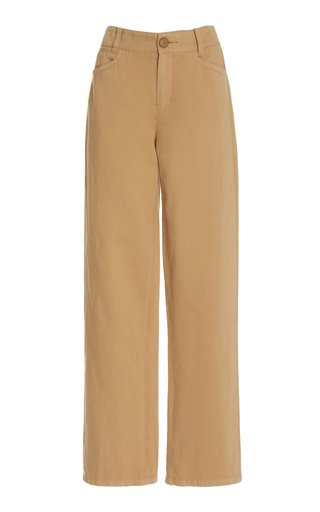 Draped Cotton-Blend Pants