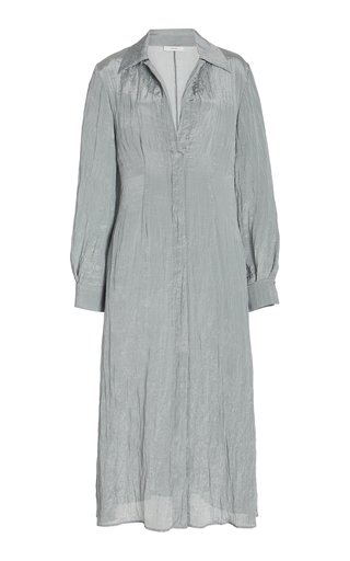 Collared Crinkled Satin Shirt Dress