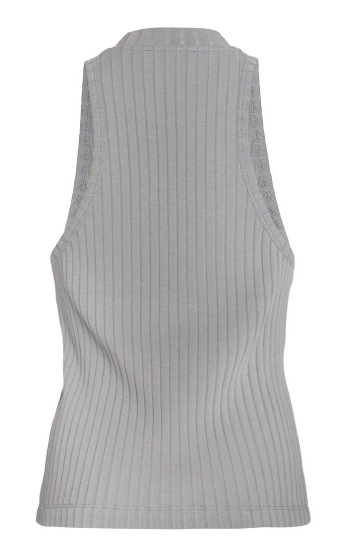Ribbed Cotton-Blend Racer Tank Top