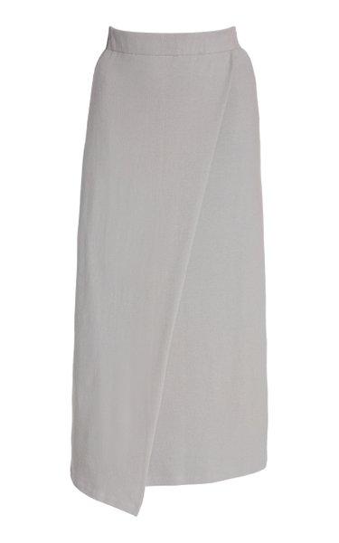 Wrap-Effect Cotton-Blend Skirt