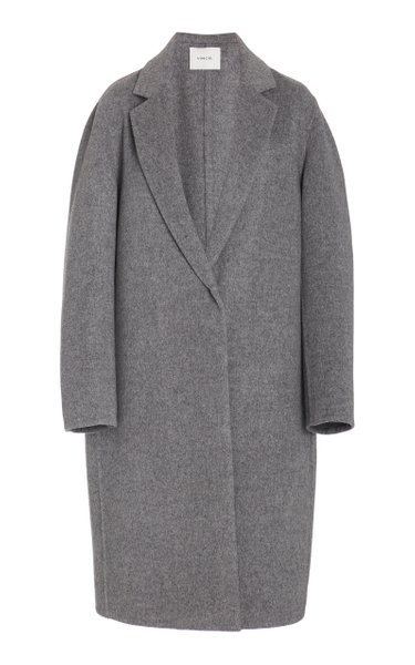 Collared One Button Wool-Blend Coat