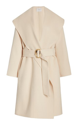 Draped Hooded Virgin Wool-Cashmere Coat