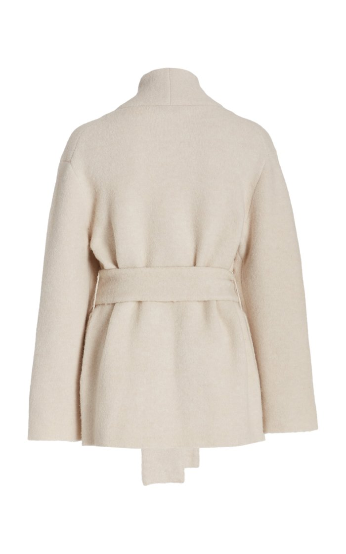Belted Wool-Blend Cardigan Coat