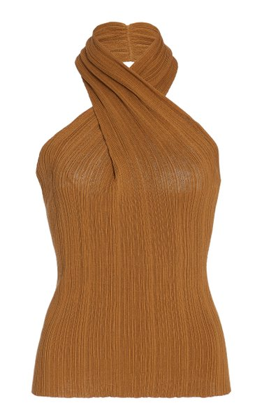 Twist Detail Cotton Halter Top