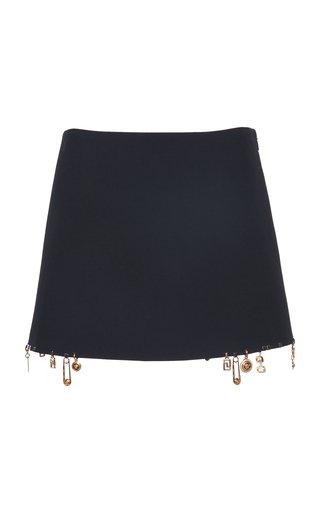Embellished Unfinished Hem Cady Skirt