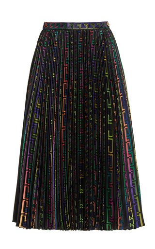 Pleated Logo-Print Twill Midi Skirt