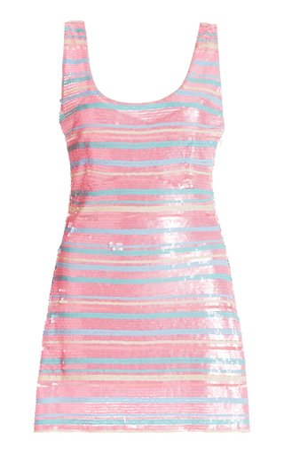 Madelina Striped Sequined Cotton-Blend Mini Dress