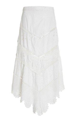 Garcelle Scalloped Cotton-Broderie Skirt