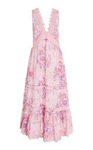 Oakley Lace-Trimmed Floral Cotton Maxi Dress