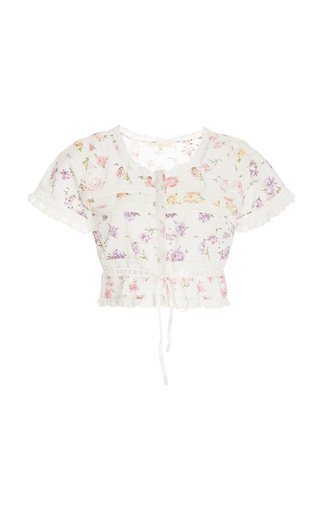 Farley Broderie-Cotton Cropped Top