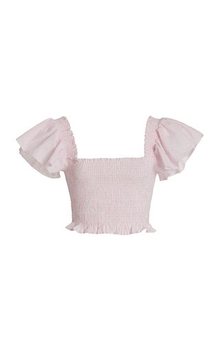Wallace Smocked Cotton Cropped Top