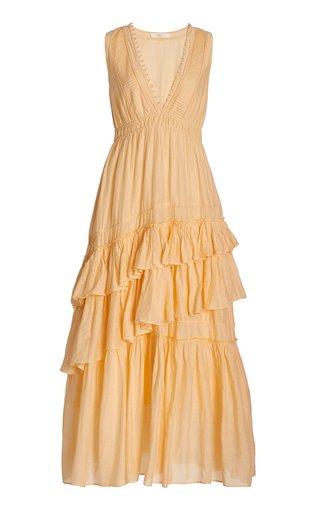 Jordie Ruffled Cotton-Silk Maxi Dress