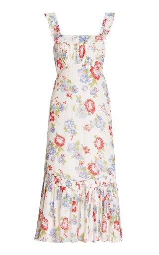Weslan Floral-Printed Cotton-Silk Midi Dress