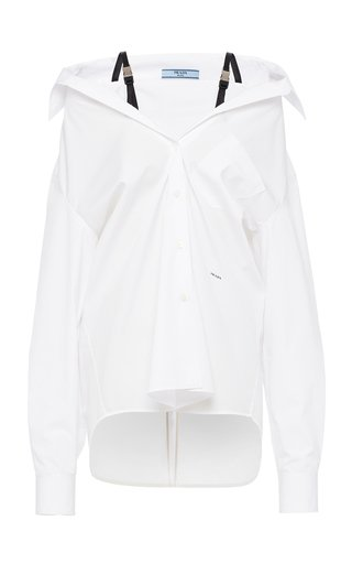 Strap-Detailed Draped Cotton Poplin Shirt
