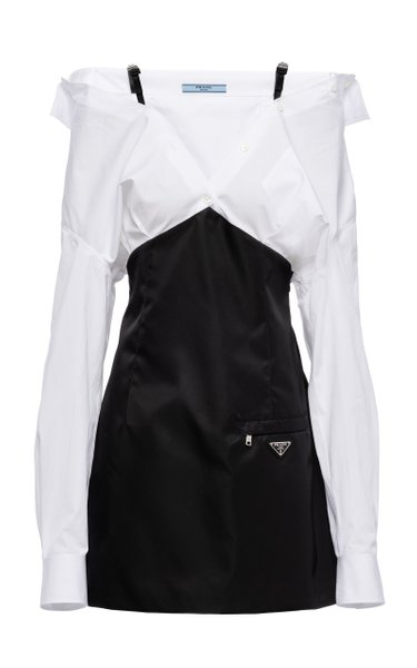 Draped Cotton and Nylon Mini Dress