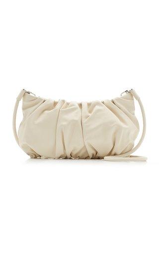 Large Bean Ruched Leather Shoulder Bag