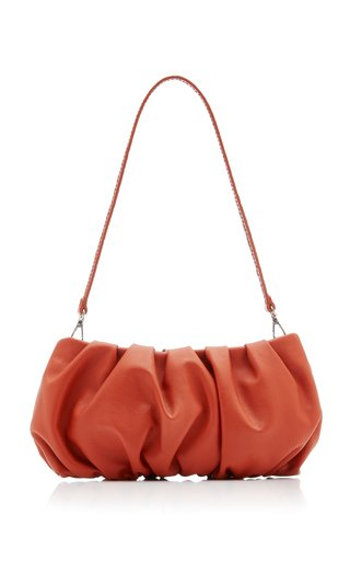 Bean Ruched Leather Shoulder Bag