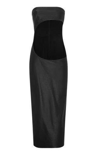 Half Moon Cutout Leather Dress