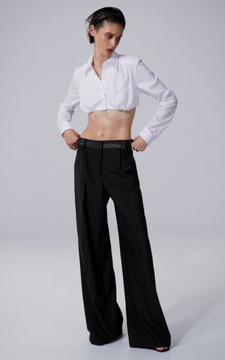 Leather-Belted Wool Pants