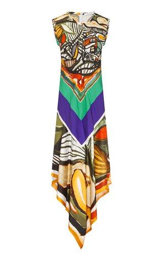 Silk Bandana Scarf Maxi Dress