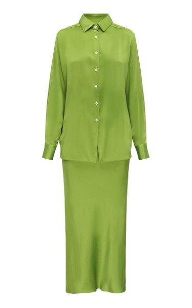 Bias Silk Button Down Shirt Dress