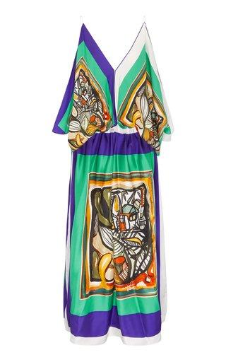 Bandana Scarf Silk Kaftan Dress