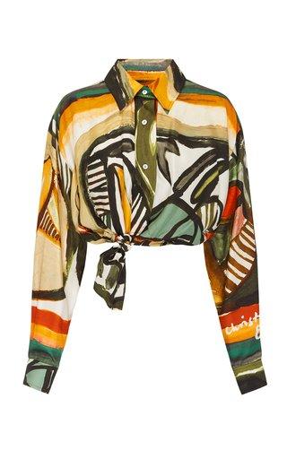 Ruched Bandana Scarf Cropped Silk Shirt