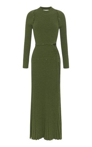 Deconstructed Wool-Knit Cashmere Dress